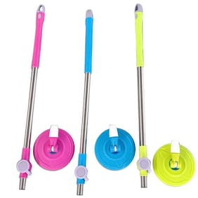 R J Star Home Cleaning set of 3 steel mop sticks 360 Spin mop-stick also 3 microfibre pocha wipe