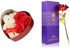 R J Star Valentine Gift Teddy (6 Inch) And 24K Gold Plated Red Rose With Unique Gift Box - Best Gift For Love Ones