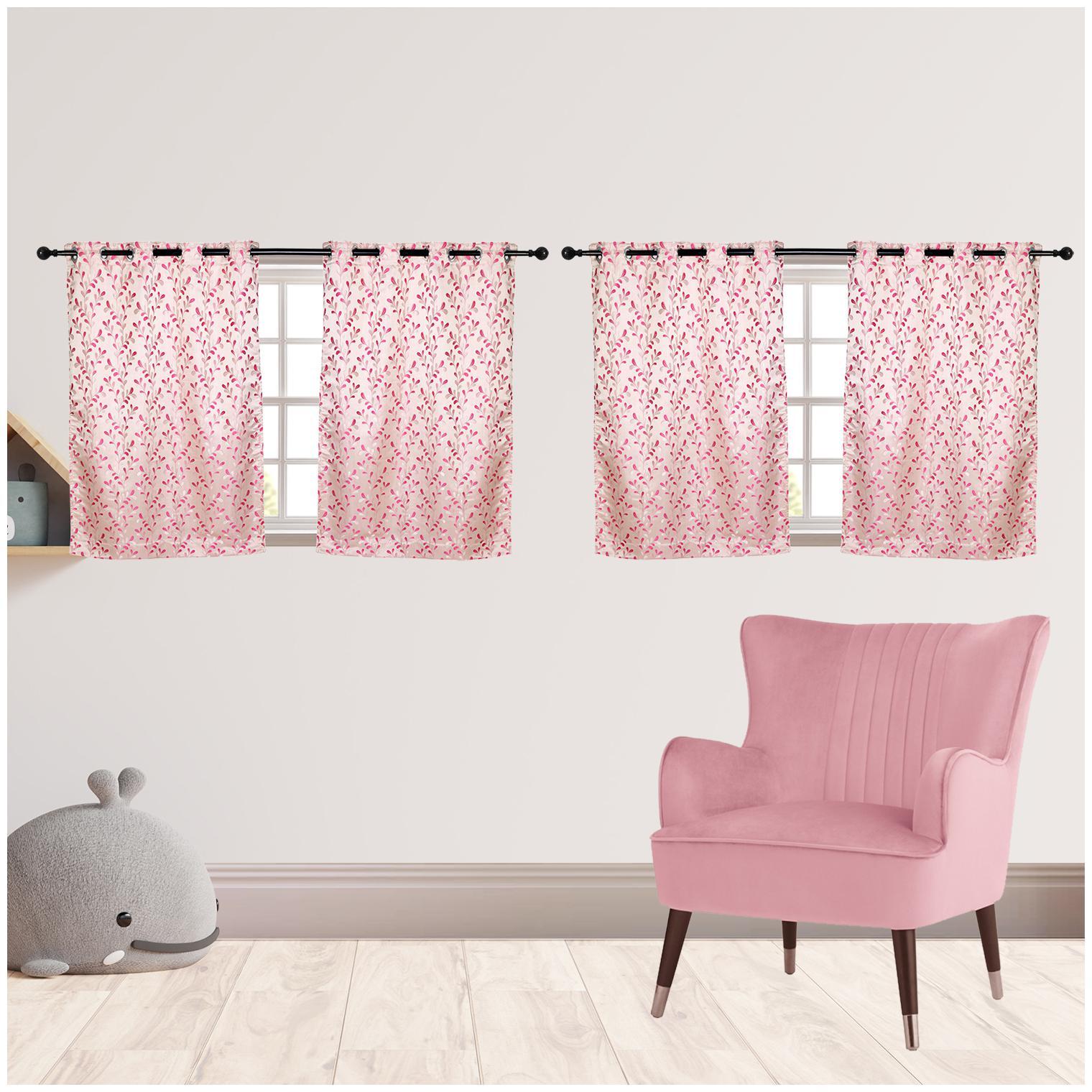 R S Furnishing Polyester Window Semi Transparent Pink Regular Curtain ( Eyelet...