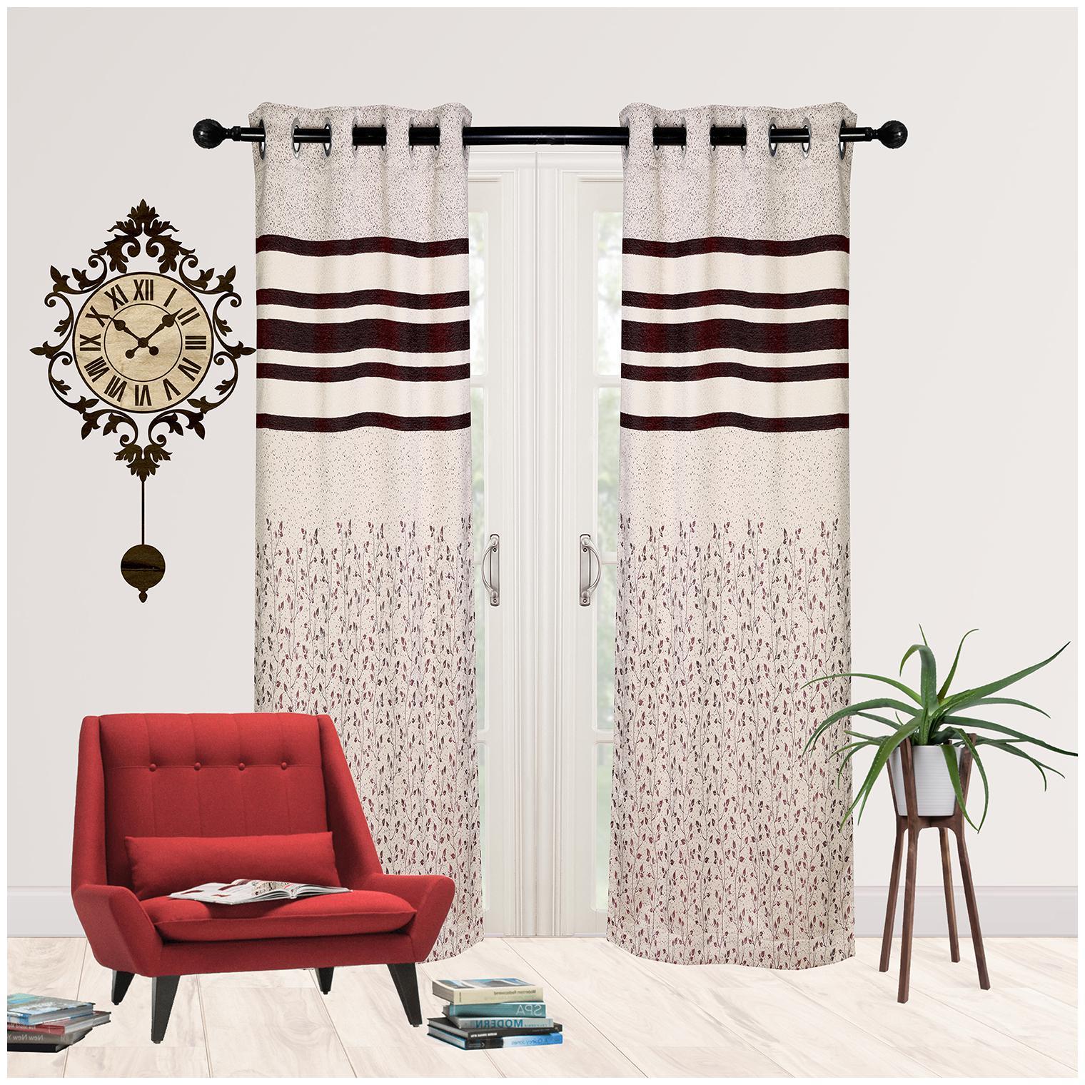 R S Furnishing Jacquard Door Blackout Wine Regular Curtain ( Eyelet Closure...