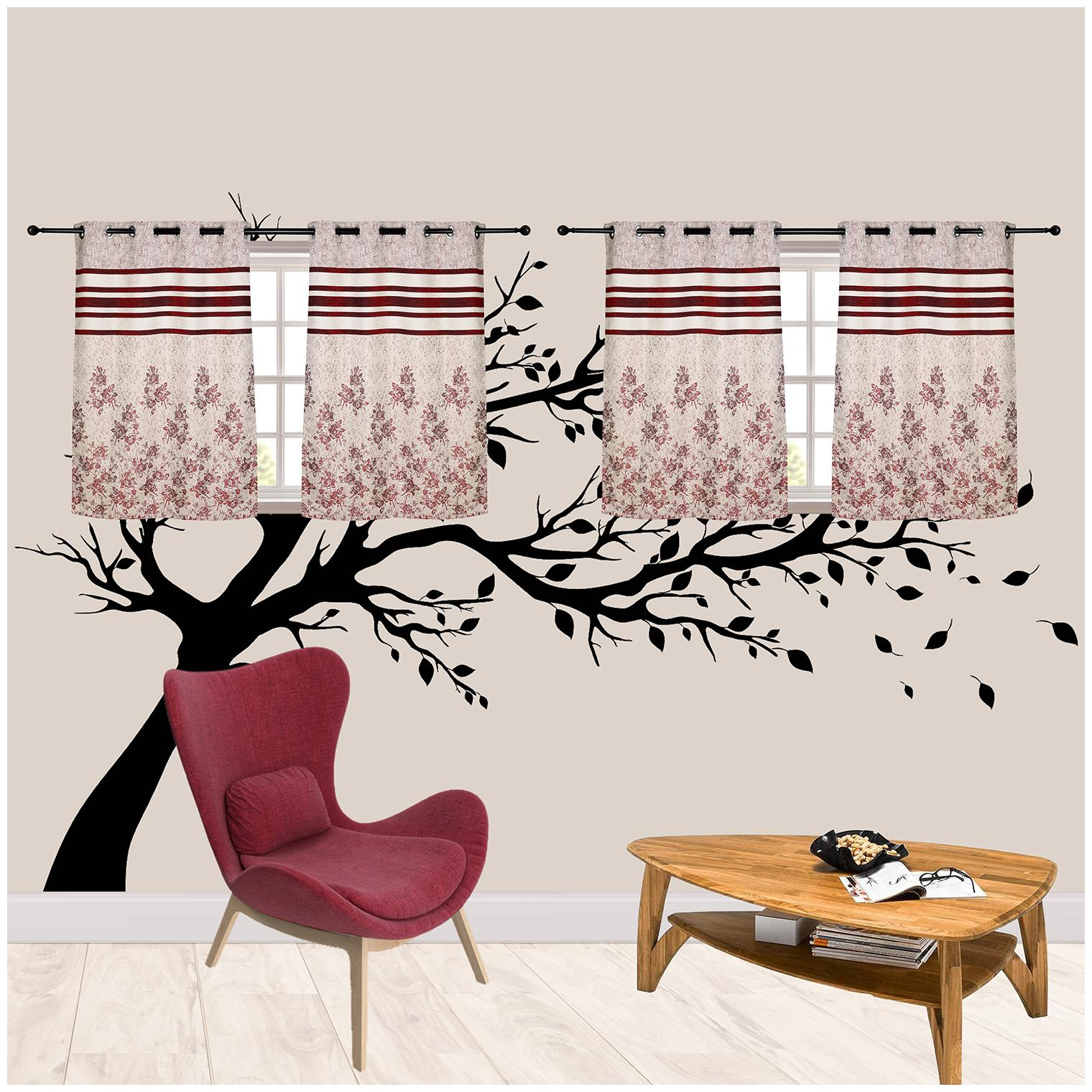 R S Furnishing Polyester Window Blackout Maroon & White Regular Curtain (...