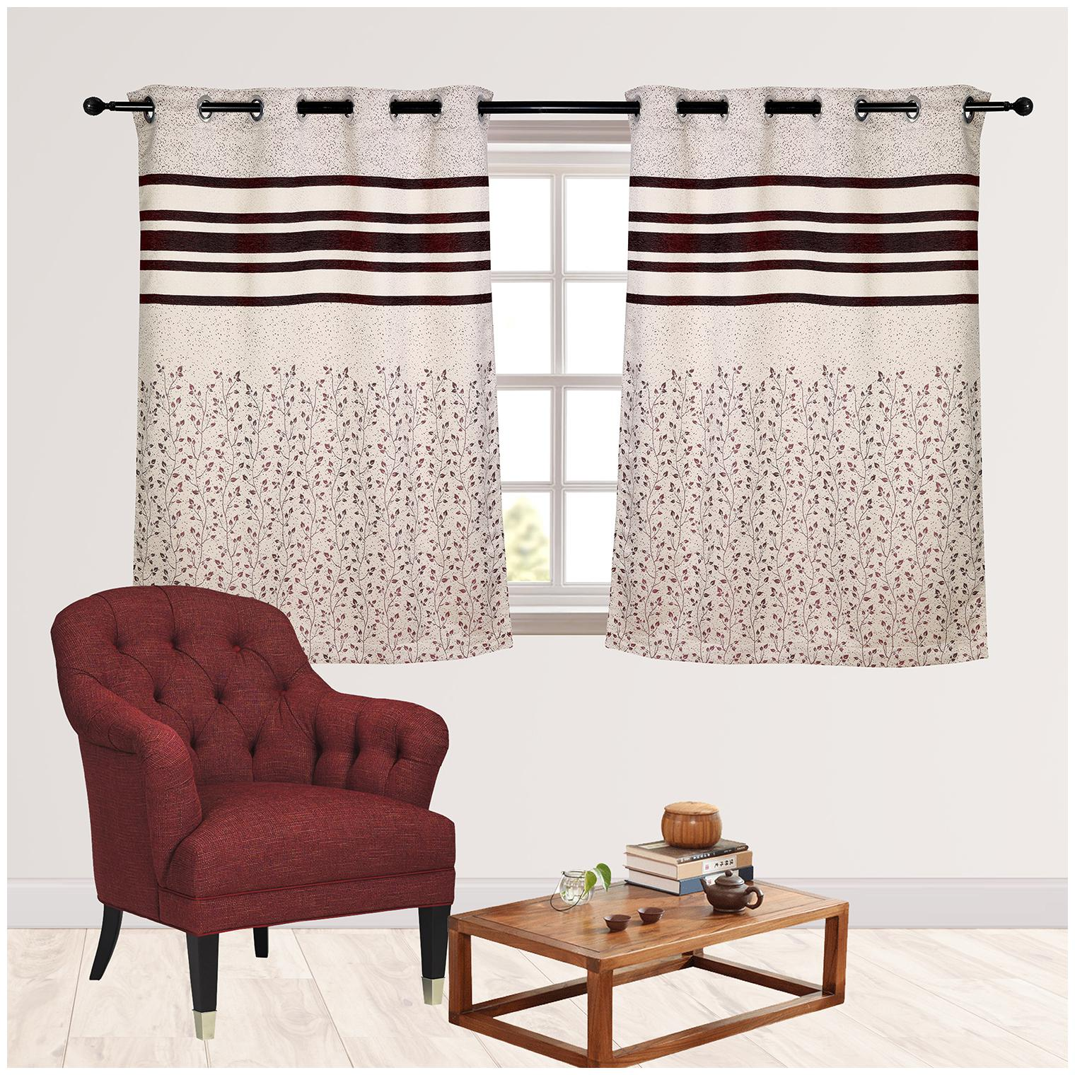 R S Furnishing Polyester Window Blackout Wine & White Regular Curtain (...