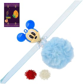 RA-Rock Blue Mikki Mouse Multicolor Light Kids Rakhi Set (ARR211036)