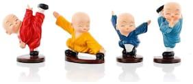 Ra-Rock Monk Buddha Figurines Cute Small Kung Creative Resin Little Monks