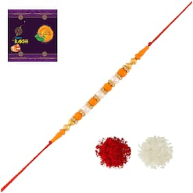 RA-Rock Multicolor Pearl Rakhi Set For Brother And Sister (ARR211043)