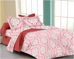 RADANYA Cotton Printed Double Size Bedsheet ( 1 Bedsheet With 2 Pillow Covers , Red )