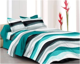 RADANYA Cotton Printed Double Size Bedsheet ( 1 Bedsheet With 2 Pillow Covers , Green )