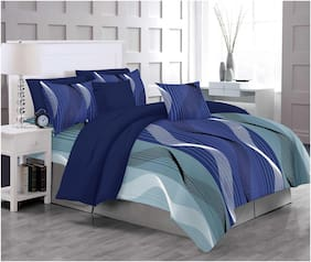 RADANYA Cotton Printed Double Size Bedsheet 300 TC ( 1 Bedsheet With 2 Pillow Covers , Blue )
