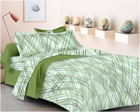 RADANYA Cotton Printed Double Size Bedsheet 300 TC ( 1 Bedsheet With 2 Pillow Covers , Green )