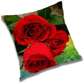 RADANYA 3d printed Polyester Red Cushion Cover ( Large , Pack of 1 )