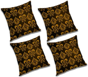 RADANYA 3d printed Polyester Black Cushion Cover ( Extra large , Pack of 4 )