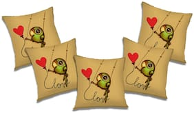 RADANYA 3D Printed Cushion Cover with Filler (Set of 5) 18x18 Inch