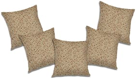 RADANYA 3d printed Polyester Beige Cushion Cover ( Extra large , Pack of 5 )