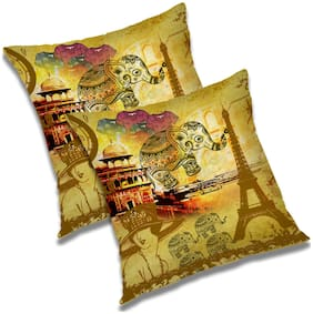 RADANYA Polyester Abstract 30 48 Cm 12 Inch X 30 48 Cm 12 Inch Cushions Covers ( Set Of 2 , Yellow )