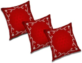 RADANYA Abstract Polyester Red Cushion Cover ( Extra large , Pack of 3 )