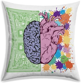 RADANYA Abstract Digital Printing Cushion Cover With Filler Pillow Covers Takiya In Square Shape Gift For Home Office-White-20x20 inch