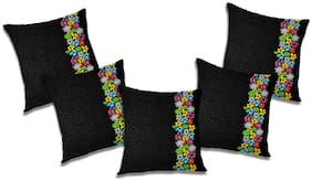 RADANYA Abstract Polyester Black Cushion Cover ( Small , Pack of 5 )