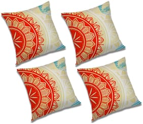 RADANYA Abstract Polyester Orange Cushion Cover ( Extra large , Pack of 4 )