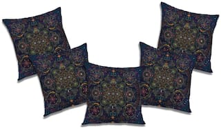 RADANYA Abstract Polyester Black Cushion Cover ( Large , Pack of 5 )
