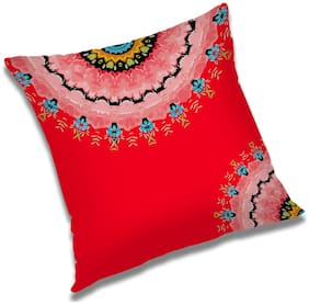 RADANYA Abstract Polyester Red Cushion Cover ( Small , Pack of 1 )