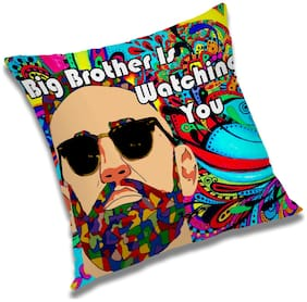RADANYA Big Brother Is Watching Printed Cushion Cover Multicolor,16x16 inch