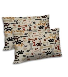 RADANYA Polyester Cartoon Pillow Covers ( Set of 2 , Beige )