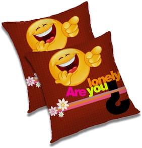 RADANYA Cartoon Polyester Orange Cushion Cover ( Large , Pack of 2 )