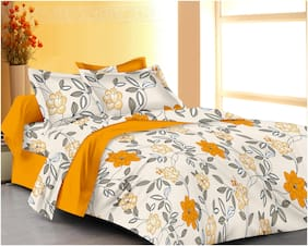 RADANYA Cotton Printed Double Size Bedsheet ( 1 Bedsheet With 2 Pillow Covers , Yellow )