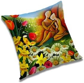 RADANYA Couple Printed Cushion Cover Multicolor,20x20 inch