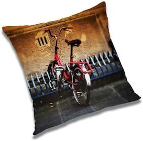 RADANYA Cycle Printed Cushion Cover Brown,16x16 inch