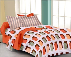 RADANYA Cotton Printed Double Size Bedsheet ( 1 Bedsheet With 2 Pillow Covers , Orange )