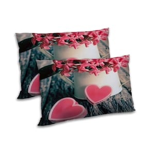 RADANYA Polyester Floral Pillow Covers ( Set of 2 , Peach )