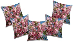 RADANYA Floral Cushion Cover with Filler (Set of 5) 18x18 Inch