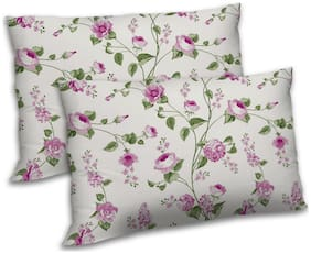 RADANYA Polyester Floral Pillow Covers ( Pack of 2 , Pink )