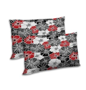 RADANYA Polyester Floral Pillow Covers ( Set of 2 , Black )