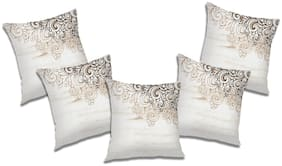 RADANYA Floral Polyester White Cushion Cover ( Extra large , Pack of 5 )