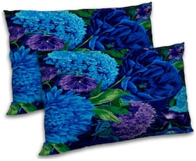 RADANYA Polyester Floral Pillow Covers ( Pack of 2 , Blue )