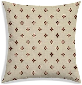 RADANYA Floral Polyester Beige Cushion Cover ( Small , Pack of 1 )