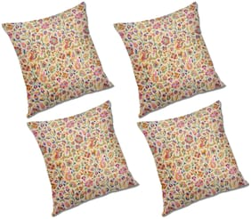 RADANYA Floral Polyester Beige Cushion Cover ( Small , Pack of 4 )