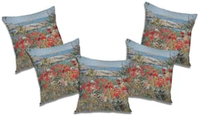 RADANYA Floral Cushion Cover (Set of 5) 24x24 inch