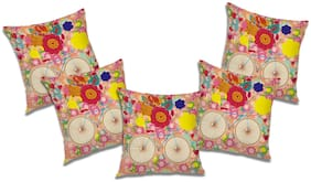 RADANYA Floral Cushion Cover (Set of 5) 12X12 inch