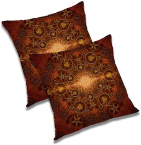 RADANYA Floral Polyester Brown Cushion Cover ( Regular , Pack of 2 )