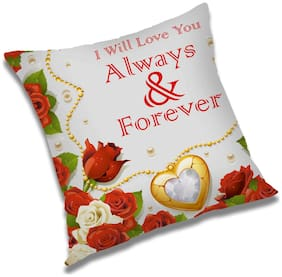 RADANYA I Will Love You Always & Forever Printed Cushion Cover Red,16x16 inch