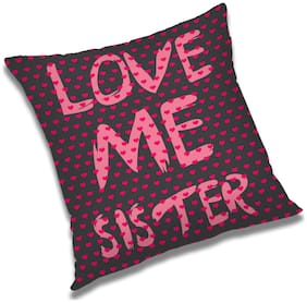 RADANYA Love Me Sister Printed Cushion Cover Multicolor,16x16 inch