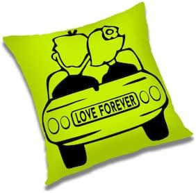 RADANYA Love Forever Printed Cushion Cover Green,12x12 inch