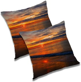 RADANYA Printed Polyester Brown Cushion Cover ( Small , Pack of 2 )