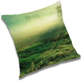 RADANYA Printed Polyester Green Cushion Cover ( Large , Pack of 1 )