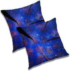 RADANYA Printed Polyester Blue Cushion Cover ( Extra large , Pack of 2 )
