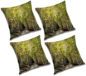 RADANYA Printed Polyester Green Cushion Cover ( Extra large , Pack of 4 )