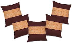RADANYA Paisley Polyester Brown Cushion Cover ( Extra large , Pack of 5 )